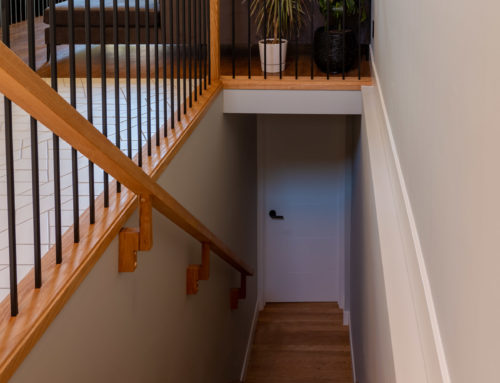 Suite Home Renovations – Basement Stairs with Railings, Basement Door