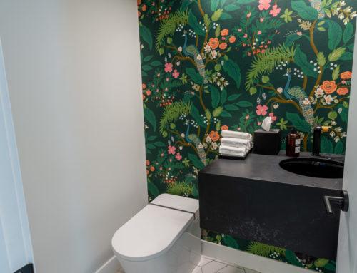 Suite Home Renovations – Powder Room, Wallpaper, Floating Vanity, Tankless Toilet, Framing, Plumbing